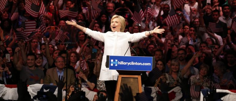 Democratic U.S. presidential candidate Hillary Clinton arrives to speak during her California primary night rally (Getty Images)