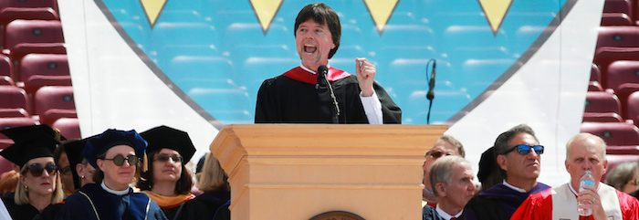 Filmmaker Ken Burns speaks at the Stanford University commencement ceremony in Palo Alto, California, U.S. June 12, 2016. (photo: REUTERS/Elijah Nouvelage) - RTX2FTCW