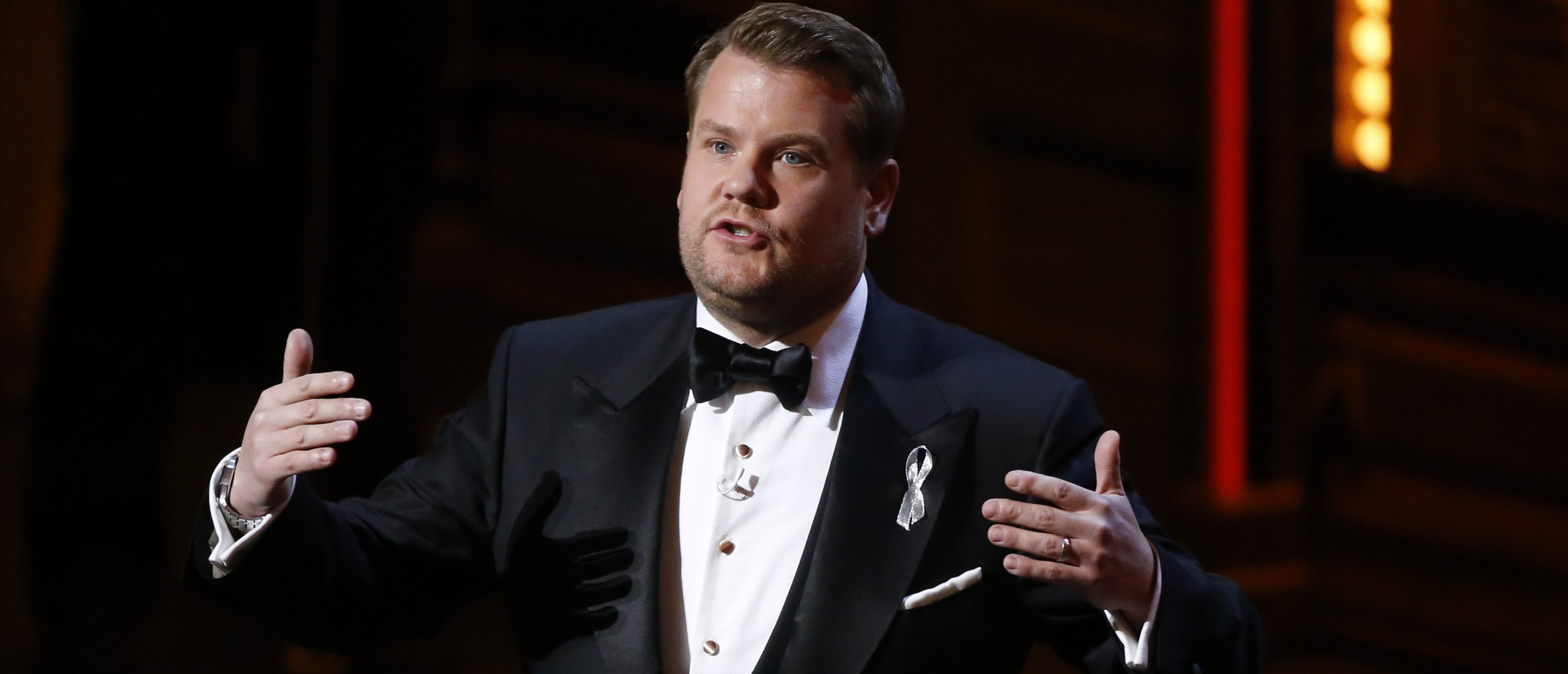 Show host James Corden speaks during the American Theatre Wing's 70th annual Tony Awards in New York, U.S., June 12, 2016. (photo: REUTERS/Lucas Jackson) - RTX2FUFX