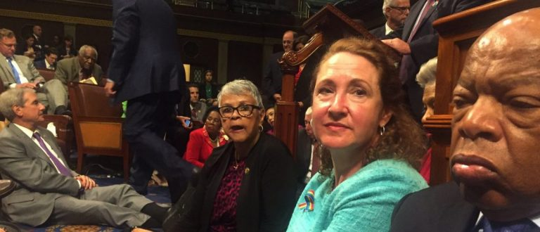 """A photo shot and tweeted from the floor of the House by U.S. House Rep. David Cicilline shows Democratic members of the U.S. House of Representatives, including Rep. John Lewis (R) staging a sit-in on the House floor """"to demand action on common sense gun legislation"""" on Capitol Hill in Washington, United States, June 22, 2016. REUTERS/ U.S. Rep. David Cicilline"""