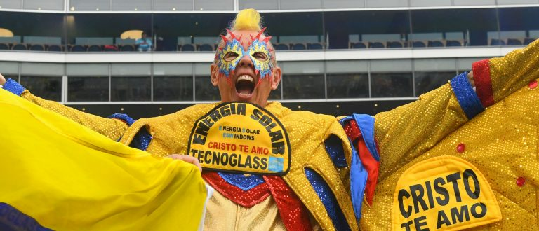 Colombia fan watches the game in Chicago