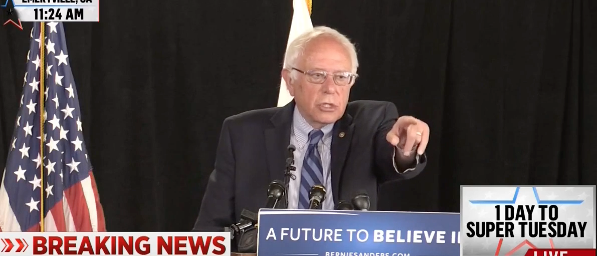 Bernie Sanders at a press conference in Emeryville, Calif. June 6, 2016. (Youtube screen grab)