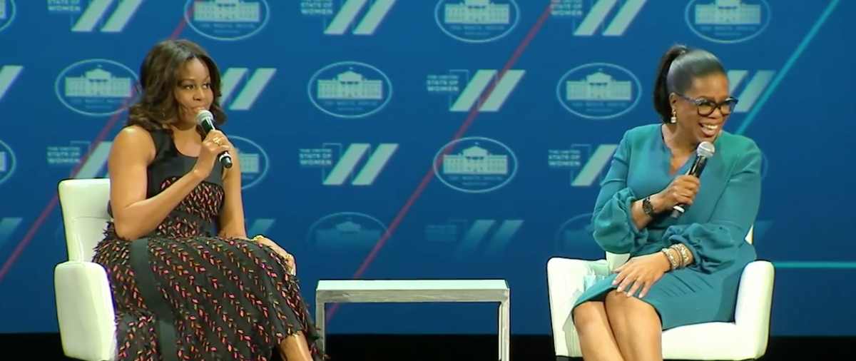 Michelle Obama and Oprah Winfrey talk at the United States of Women Summit, June 14, 2016. (Youtube screen grab)
