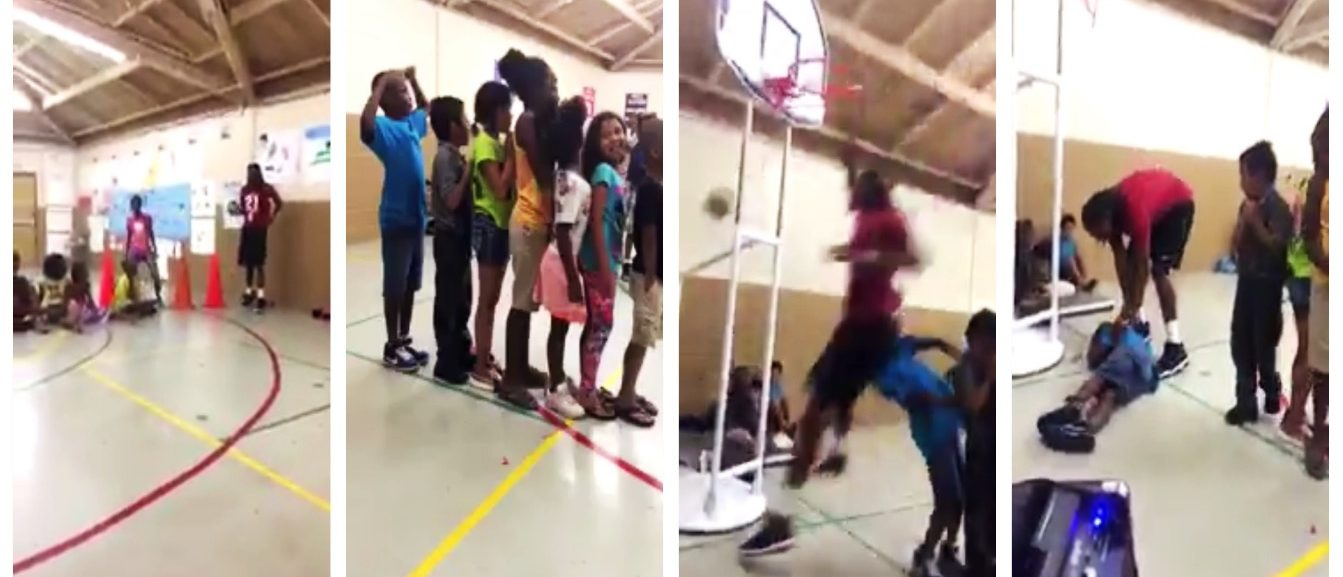 Guy Tries To Dunk Over 7 Kids, Which Ended Very Poorly For The Last Boy In Line (Twitter)