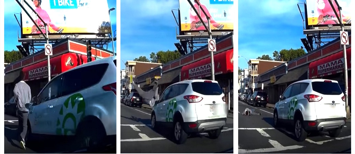 Car Sends Guy FLYING Across A Boston Intersection (YouTube)