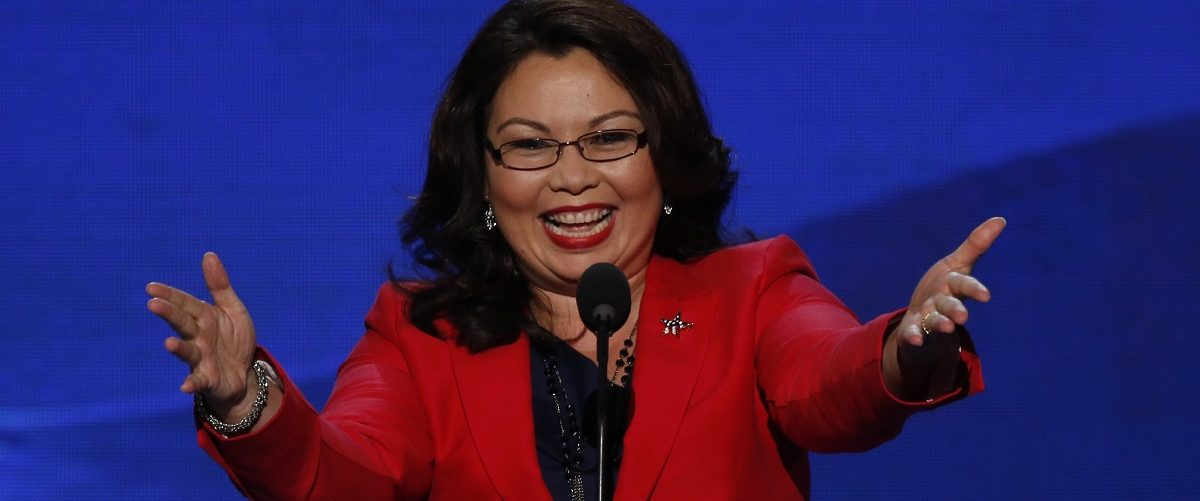 U.S. congressional candidate Duckworth addresses delegates during the first day of the Democratic National Convention in Charlotte