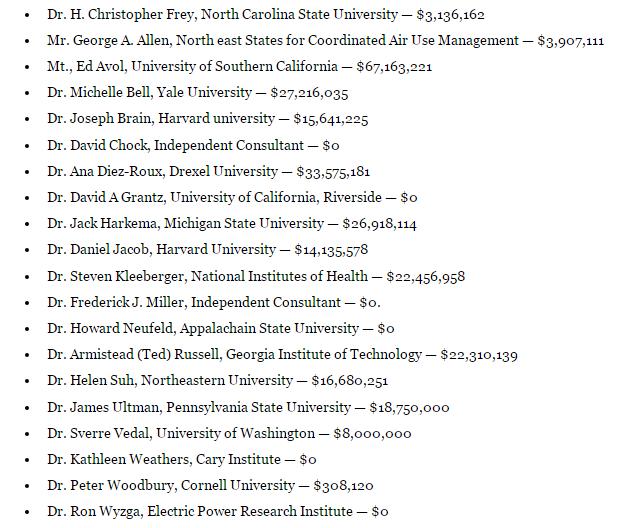 List of EPA grantees