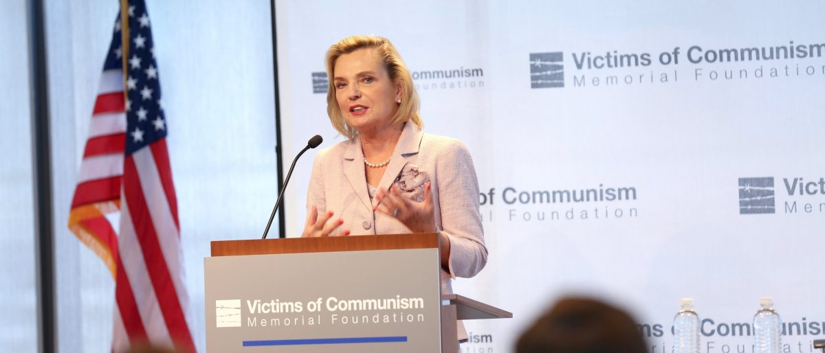 Polish Secretary of State Anna Maria Anders speaks at a luncheon in Washington D.C., June 21. (Photo Credit: Victims of Communism Memorial Foundation)