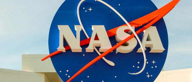 KENNEDY SPACE CENTER, CAPE CANAVERAL, FLORIDA, USA - May 3, 2013 - NASA sign at the entrance of the Kennedy Space Center in Cape Canaveral, Florida Alexanderphoto7 / Shutterstock.com