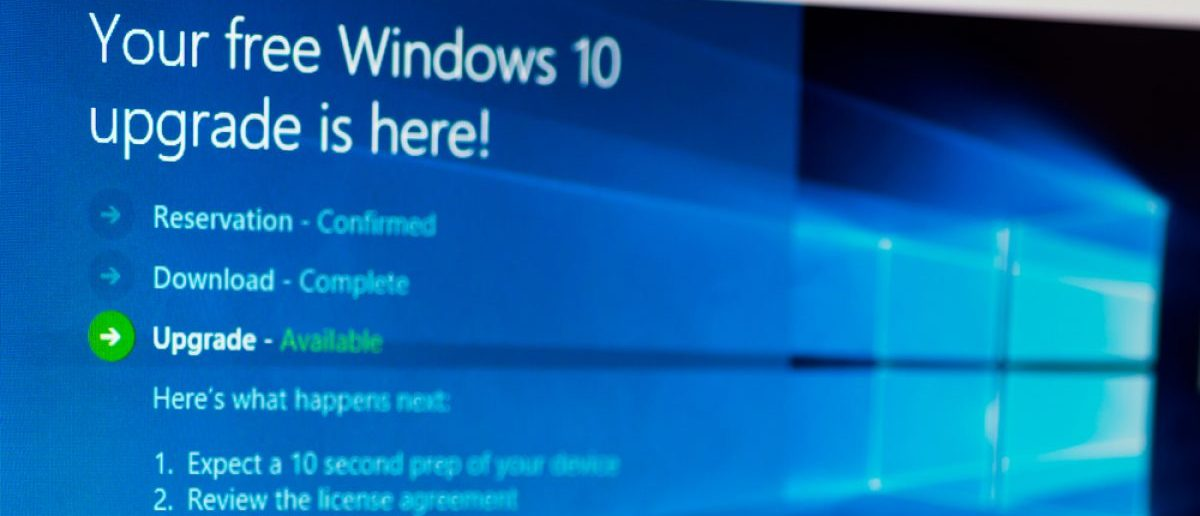 Update screen of Microsoft Windows 10. The OS is the new version of Windows. It starting July 29, 2015. Shutterstock - T.Dallas [307152515]