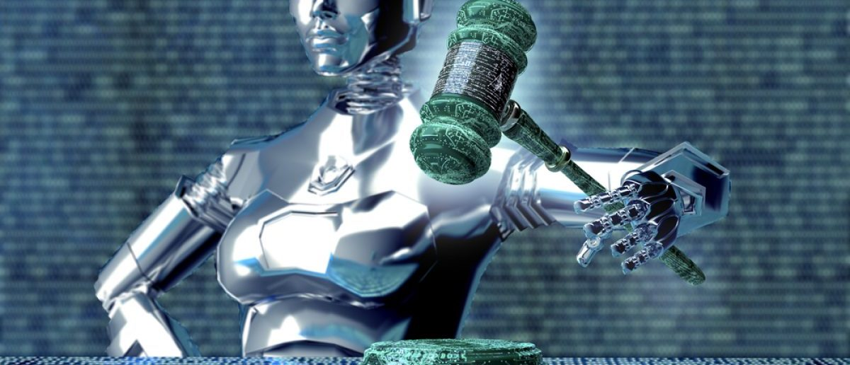 Legal computer judge concept, robot with gavel, 3D illustration. posteriori - Shutterstock