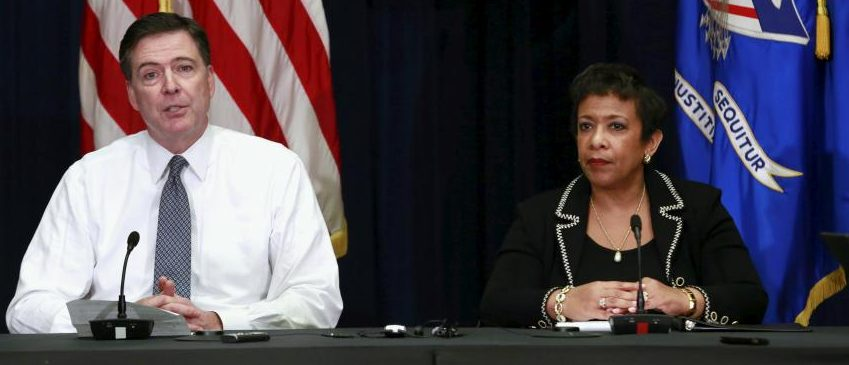 FBI director James Comey and Attorney General Loretta Lynch, Nov. 19, 2015. (Yuri Gripas/Reuters)