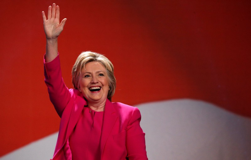 Democratic presidential candidate Clinton waves to supporters as she arrives to speak at the National Education Association's 95th Representative Assembly in Washington (Reuters Pictures)