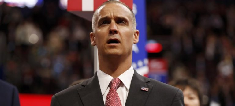 Former Trump campaign manager Lewandowski sings the U.S. National Anthem on the floor during the first session of the Republican National Convention in Cleveland