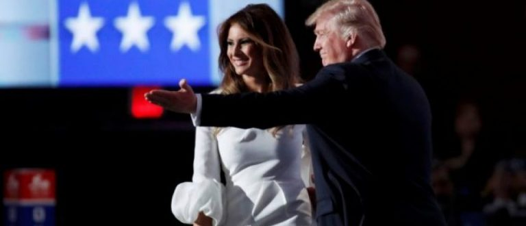 Republican Presidential Candidate Donald Trump greets his wife Melania on stage at the Republican National Convention in Cleveland, Ohio, U.S. July 18, 2016. REUTERS/Jim Young