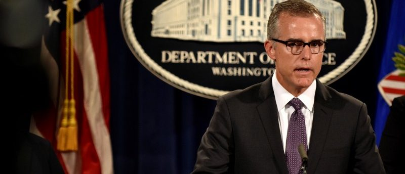 FBI Deputy Director Andrew McCabe details the filing of civil forfeiture complaints seeking the forfeiture and recovery of more than $1 billion in assets associated with an international conspiracy to launder funds misappropriated from a Malaysian sovereign wealth fund 1MDB in Washington July 20, 2016. REUTERS/James Lawler Duggan