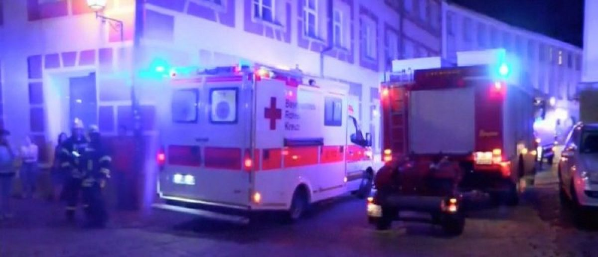 Emergency workers and vehicles are seen following an explosion in Ansbach, near Nuremberg July 25, 2016, in this still image taken from video. Courtesy News5/via Reuters TV
