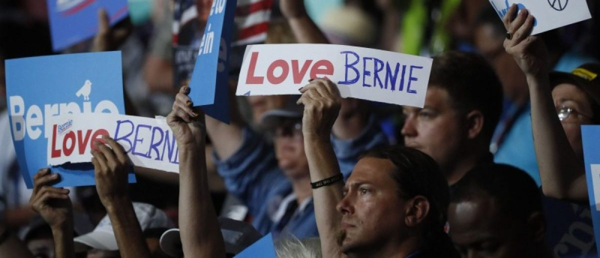 Supporters of former Democratic U.S. presidential candidate Bernie Sanders wave signs during his speech at the Democratic National Convention in Philadelphia, Pennsylvania, U.S. July 25, 2016. REUTERS/Mike Segar