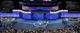 The New York delegation announces their count during roll call at the Democratic National Convention in Philadelphia