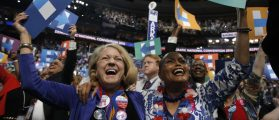 Delegates celebrate after Democratic presidential candidate Hillary Clinton won the Democratic presidential nomination at the Democratic National Convention in Philadelphia, Pennsylvania, U.S., July 26, 2016. REUTERS/Jim Young