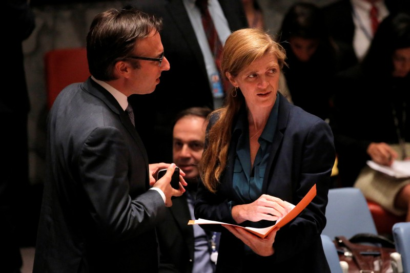 United States Ambassador to the United Nations Samantha Power (R) arrives before the United Nations Security Council voted to approve a resolution in South Sudan at the United Nations in Manhattan, New York, U.S., July 29, 2016. REUTERS/Andrew Kelly