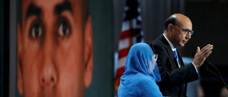 Khizr Khan, who's son Humayun (L) was killed serving in the U.S. Army, speaks at the Democratic National Convention in Philadelphia