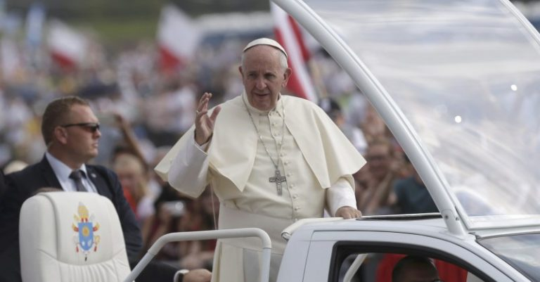 Pope Francis visits the Campus Misericordiae during World Youth Day in Brzegi near Krakow