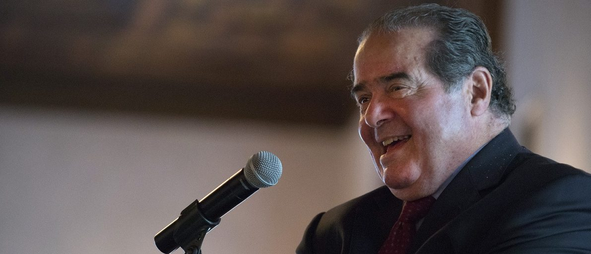 U.S. Supreme Court Justice Antonin Scalia speaks at an event sponsored by the Federalist Society in New York