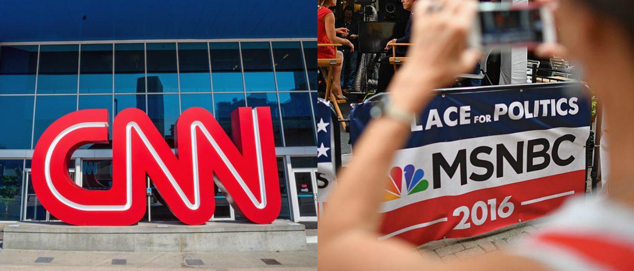 CNN logo shutterstock, MSNBC logo via Getty