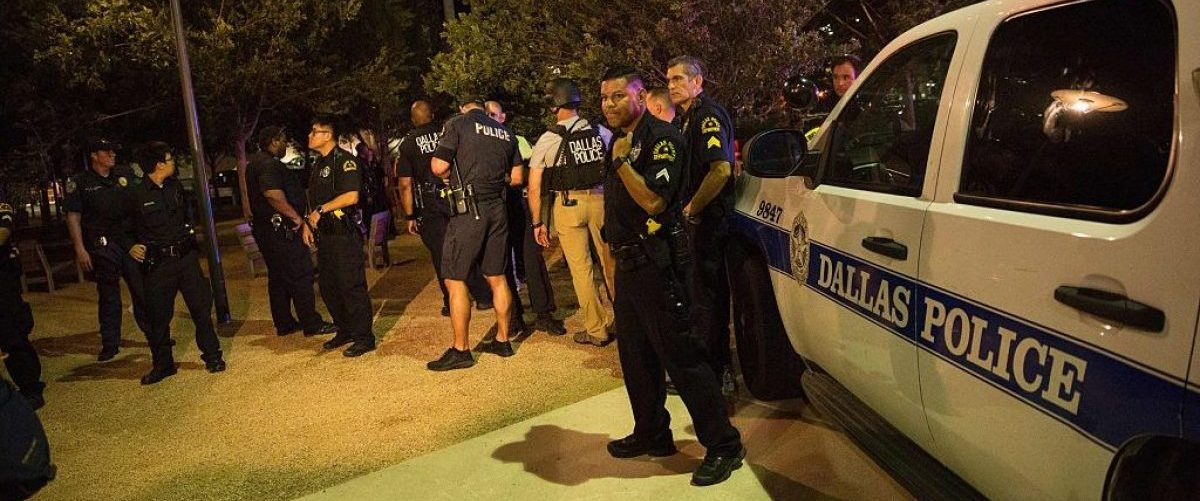 Police cars sit on Main Street in Dallas following the sniper shooting during a protest on July 7, 2016. (LAURA BUCKMAN/AFP/Getty Images)