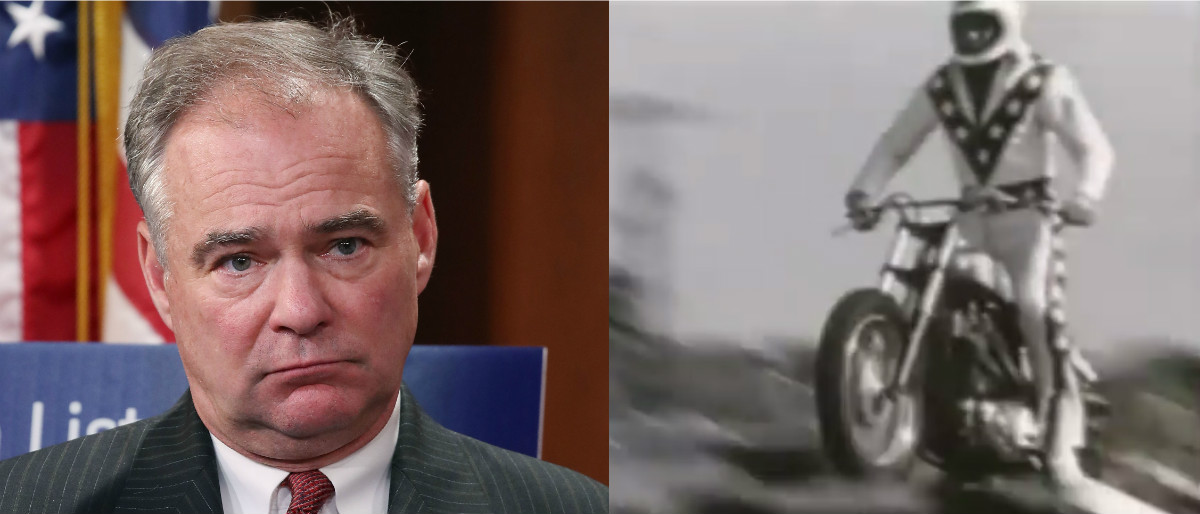 Tim Kaine and Evel Knievel [Mark Wilson/Getty Images/YouTube screenshot]