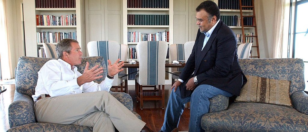 President George W. Bush meets with Prince Bandar bin Sultan, the Saudi Arabian ambassador, August 27, 2002 at Bush's Ranch in Crawford, Texas. (Photo by Eric Drapper-White House/Getty Images)