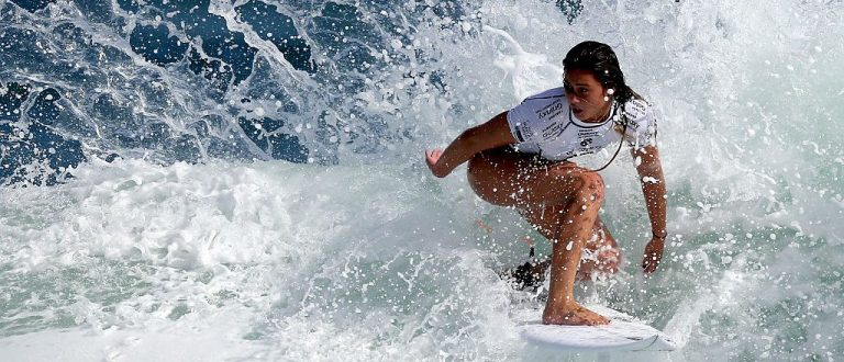 Alessa Quizon of the United States surfs during Round 1 Heats at the Oi Rio Pro on May 12, 2015 in Rio de Janeiro, Brazil