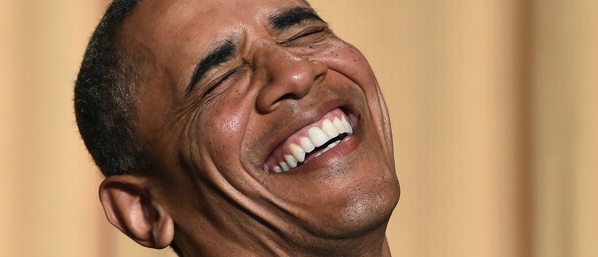 Barack Obama laughing [Jewel Samad/AFP/Getty Images]