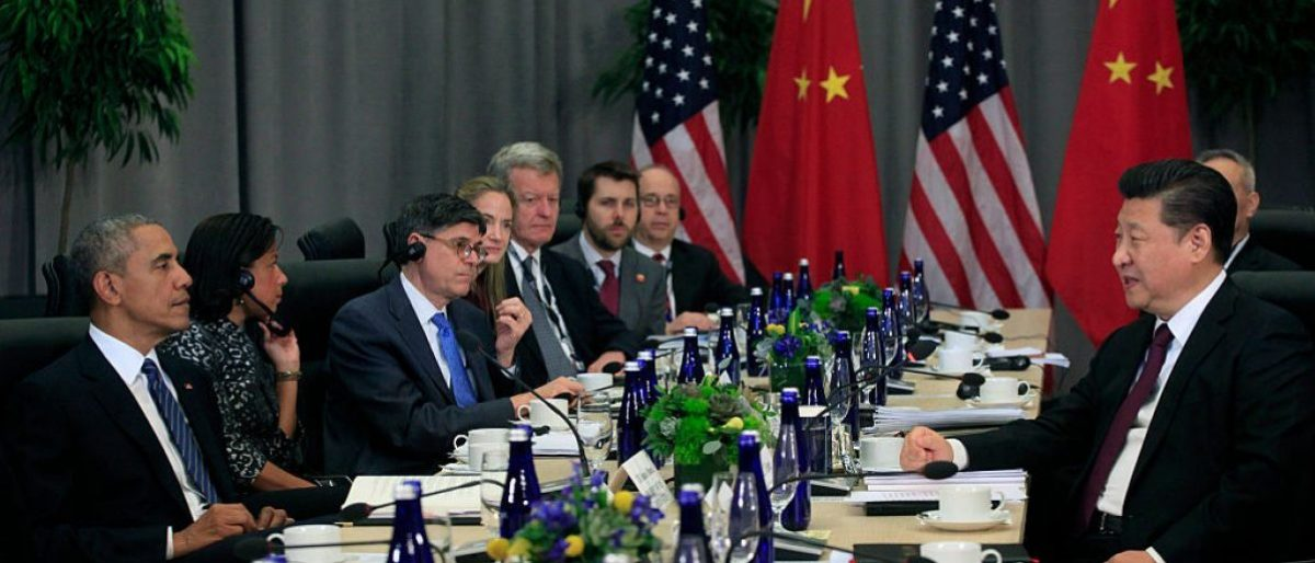 WASHINGTON, DC - MARCH 31: President Barack Obama holds a bilateral with President Xi Jinping of China (R) at the Nuclear Security Summit March 31, 2016 in Washington, DC. World leaders are gathering for a two-day conference that will address a range of issues including ongoing efforts to prevent terrorist groups from accessing nuclear material. (Photo by Dennis Brack-Pool/Getty Images)