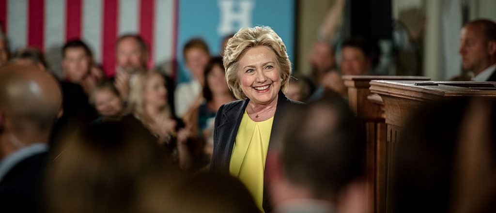 Hillary Clinton after speaking on race relations and policing at the Old State House in Springfield, Illinois (Getty Images)