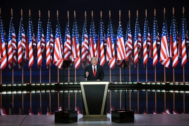 US Republican presidential candidate Donald Trump speaks on the last day of the Republican National Convention on July 21, 2016, in Cleveland, Ohio. / AFP / JIM WATSON (Photo credit should read JIM WATSON/AFP/Getty Images)