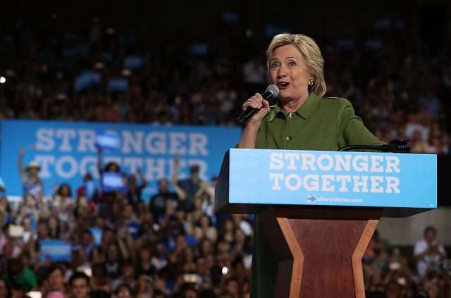 Hillary Clinton speaks during a campaign rally on July 22, 2016 in Tampa, Florida. (Getty Images)