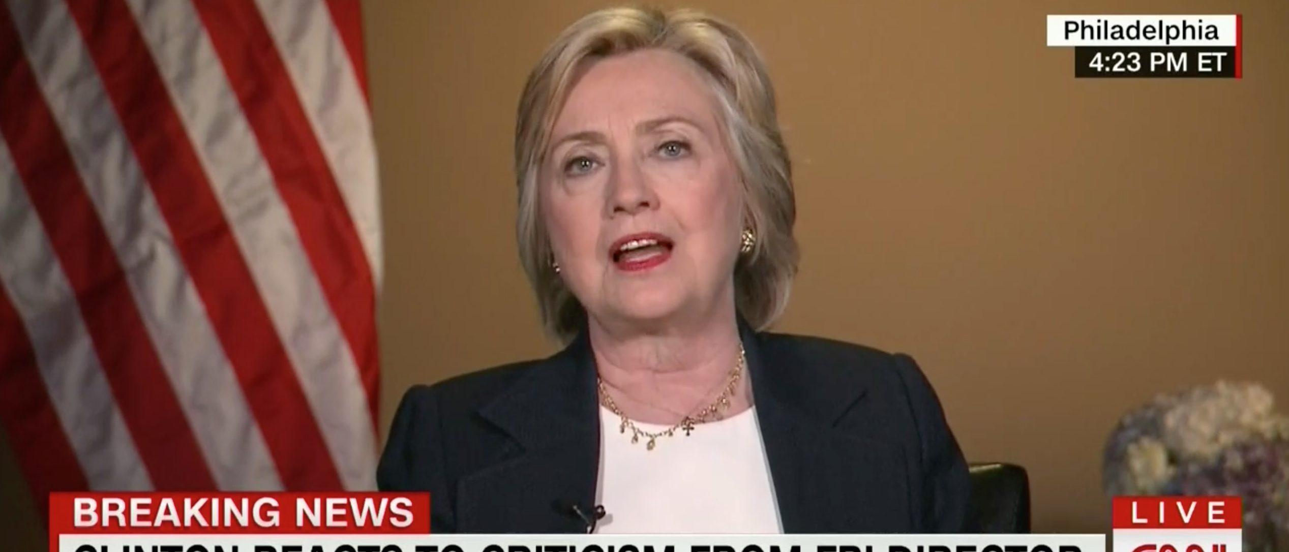 Hillary Clinton, Screen Grab CNN, 7-8-2016
