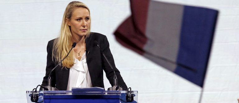 Marion Marechal-Le Pen French National Front political party candidate for the second round of the regional elections in the Provence-Alpes-Cote d'Azur (PACA) region delivers a speech during a political rally in Marseille