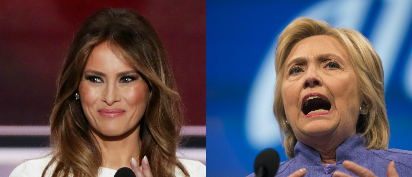 Melania Trump, Hillary Clinton, Images via Getty