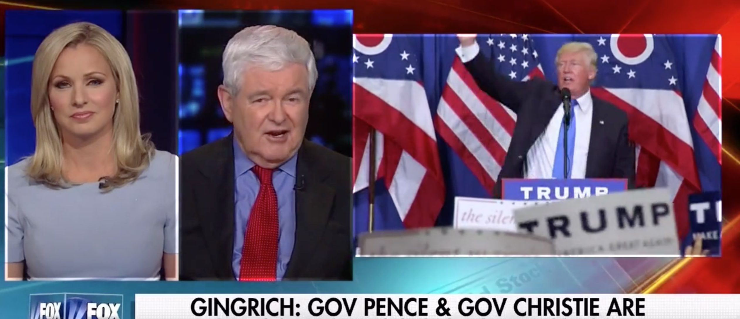 Newt Gingrich, Screen Grab Fox News, 7-12-2016