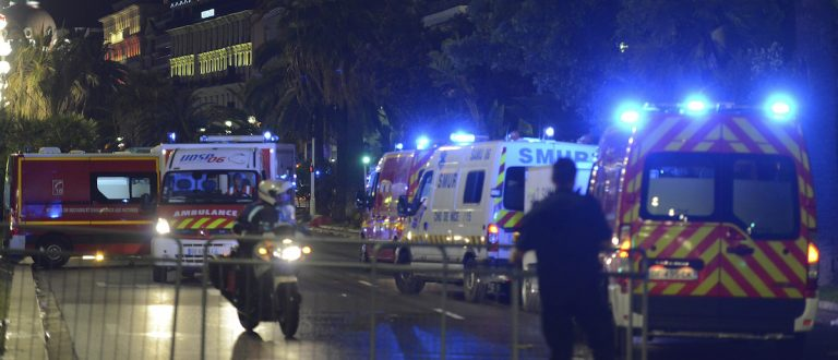 French police and rescue forces vehicles are seen on the Promenade des Anglais after at least 60 people were killed in Nice when a truck ran into a crowd celebrating the Bastille Day national holiday