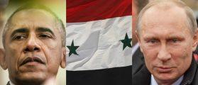 Obama: Drop of Light/Shutterstock, Syrian Flag: ART production/Shutterstock, Putin: Timofeev Sergey/Shutterstock