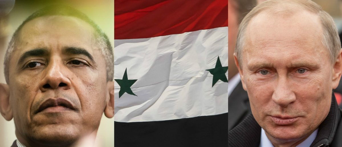 Obama: Drop of Light/Shutterstock, Syrian Flag: ART production/Shutterstock, Putin: Timofeev Sergey/Shutterstock