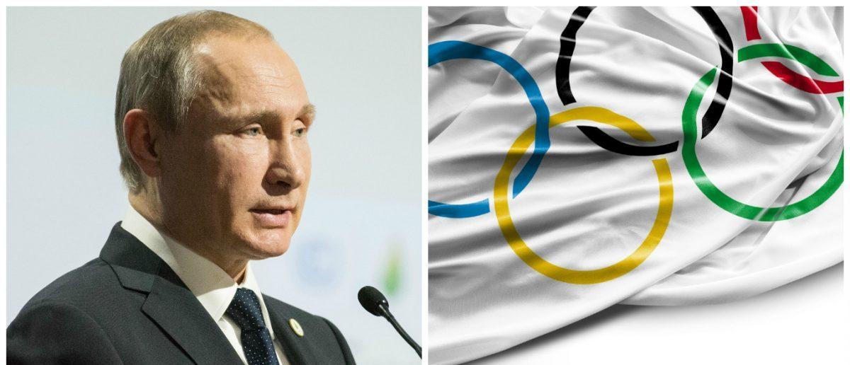 Olympic Flag: Filipe Frazao / Shutterstock.com, Vladimir Putin: Frederic Legrand - COMEO / Shutterstock.com