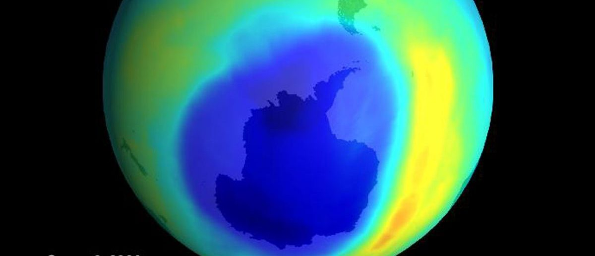 The largest ozone hole ever seen has opened up over Antartica, a sign that ozone-depleting gases churned out years ago are just now coming to their peak, NASA scientists reported September 8, 2000. Seen in this image released by the National Aeronautics and Space Administration, the hole appears as a giant blue blob which spreads over about 11 million square miles (28.3 milion square kilometers). Reuters: With permission from NASA