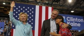 U.S. Senator Tim Kaine (D-VA) is embraced by his wife, Virginia Secretary of Education Anne Holton (R) after his introduction by Democratic U.S. presidential candidate Hillary Clinton as her vice presidential running mate during a campaign rally in Miami, Florida, U.S. July 23, 2016.   REUTERS/Brian Snyder   - RTSJCKP