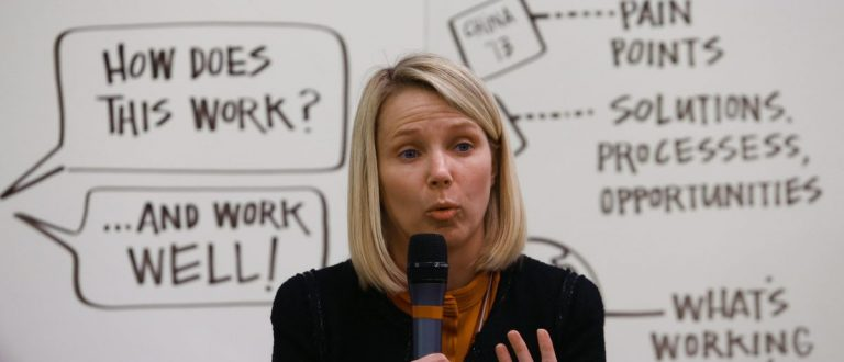 Marissa Mayer, Chief Executive Officer of Yahoo, Co-Chair of the World Economic Forum Annual Meeting 2014, attends a session at the annual meeting of the World Economic Forum (WEF) in Davos January 24, 2014. REUTERS/Denis Balibouse [SWITZERLAND - RTX17SK4]