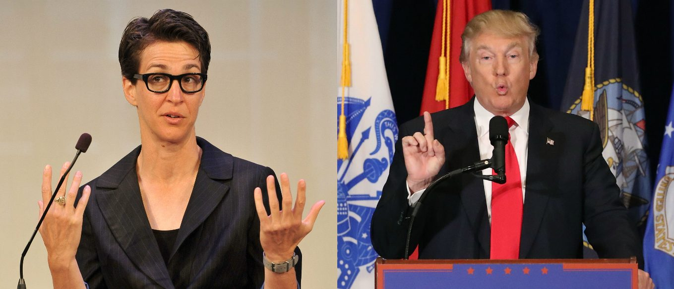 Rachel Maddow, Donald Trump, Images via Getty